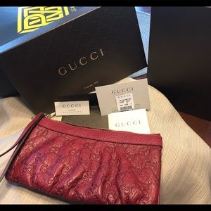 Gucci red guccisima wristlet authentic